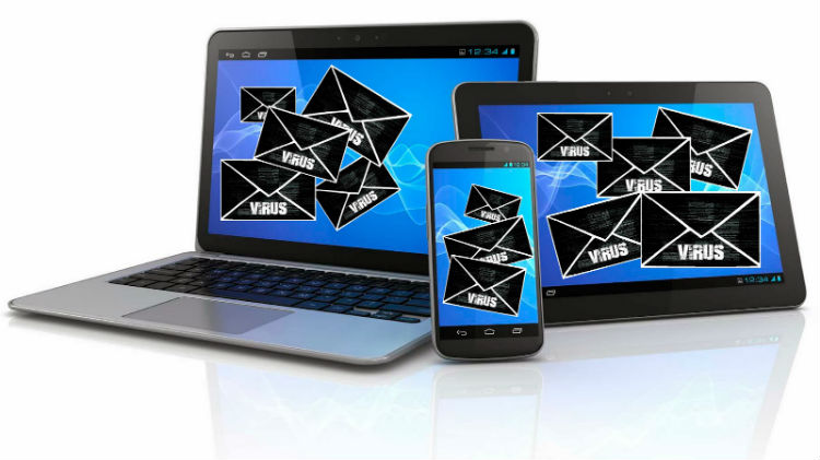Gerador de Email Temporário ou Falso para Cadastros: imagem de notebook, tablet e celular recebendo spam