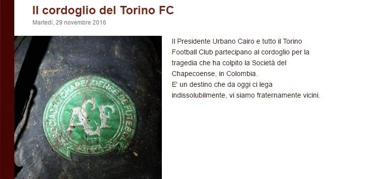 mensagem do Torino para Chapecoense