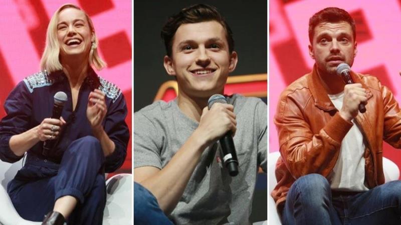 Brie Larson, Tom Holland e Sebastian Stan na CCXP 2018
