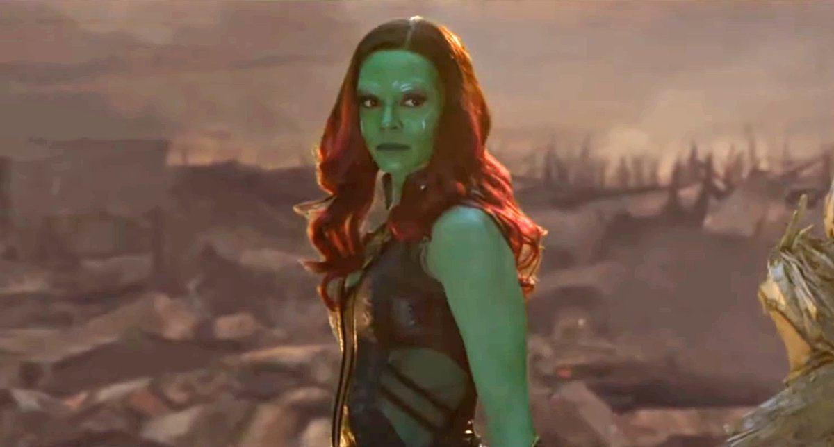 Zoe Saldana como Gamora em Vingadores: Ultimato